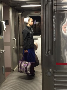 An Amish girl on board an Amtrak train