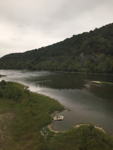 Scenic Pennsylvania view on Amtrak Capitol Limited train. Railroad tracks are often laid along river routes.