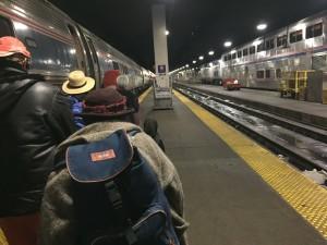 Amtrak passengers boarding in Chicago