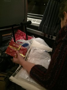 Grandma's on the train with gifts
