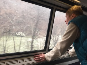 Amtrak Cardinal train enters the New River Gorge