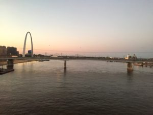 Amtrak Texas Eagle view of Gateway Arch on Mississippi River