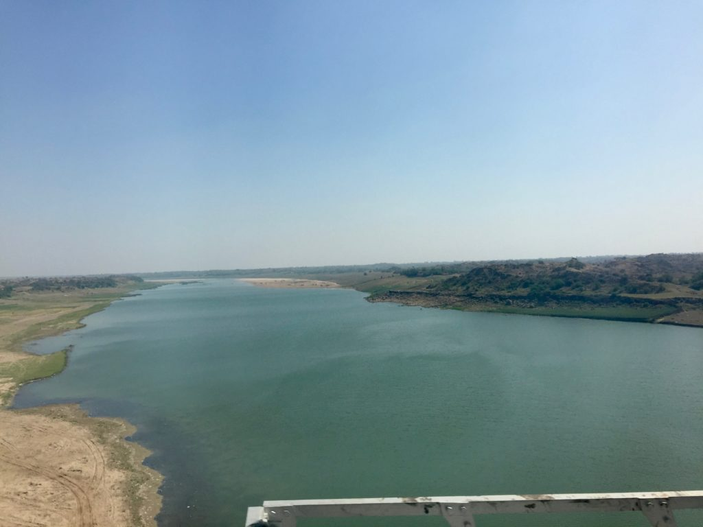 Passenger train view of Chambal River in India