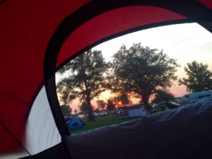 Tent view of sunrise